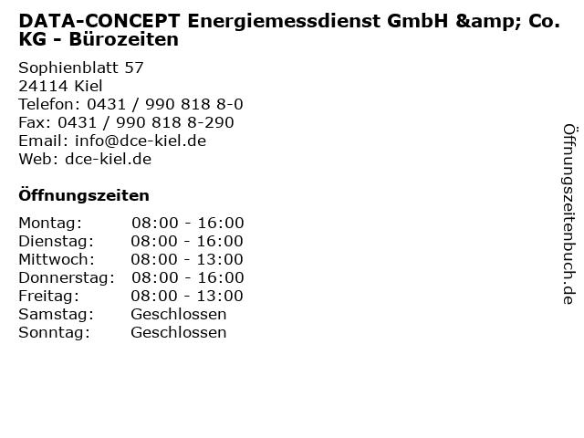 DATA-CONCEPT Energiemessdienst GmbH & Co. KG - Bürozeiten in Kiel: Adresse und Öffnungszeiten