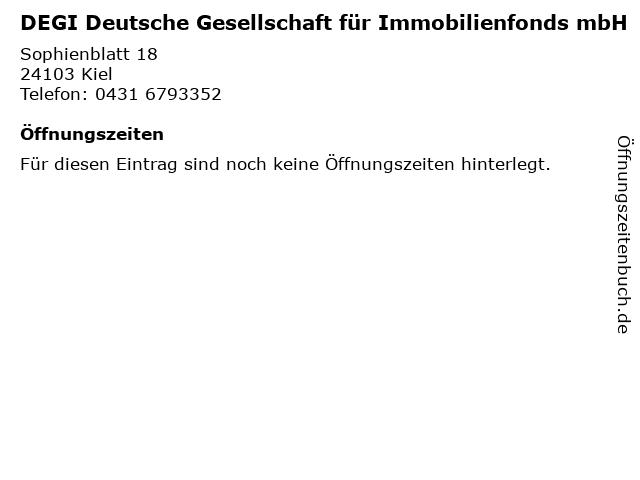 DEGI Deutsche Gesellschaft für Immobilienfonds mbH in Kiel: Adresse und Öffnungszeiten