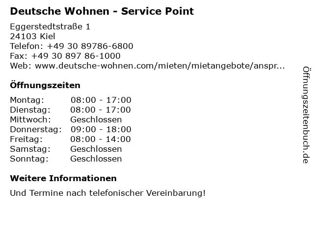 Deutsche Wohnen - Service Point in Kiel: Adresse und Öffnungszeiten