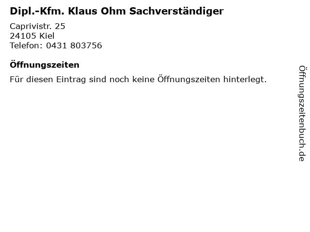 Dipl.-Kfm. Klaus Ohm Sachverständiger in Kiel: Adresse und Öffnungszeiten