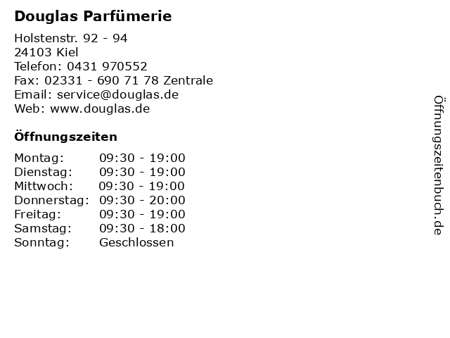 Douglas Parfümerie in Kiel: Adresse und Öffnungszeiten