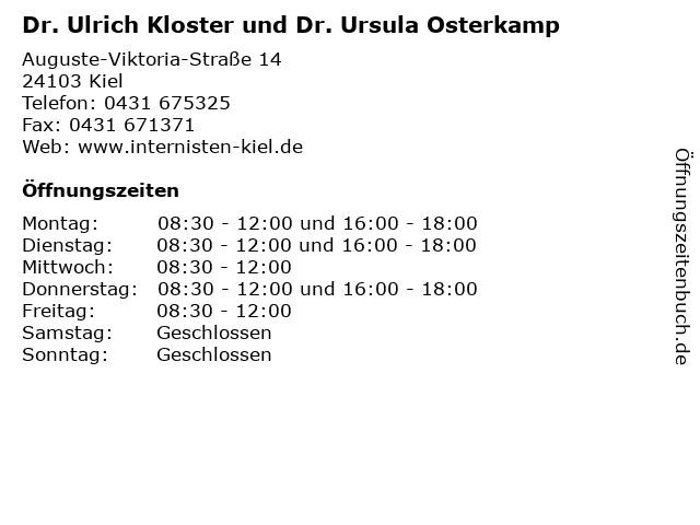 Dr. Ulrich Kloster und Dr. Ursula Osterkamp in Kiel: Adresse und Öffnungszeiten