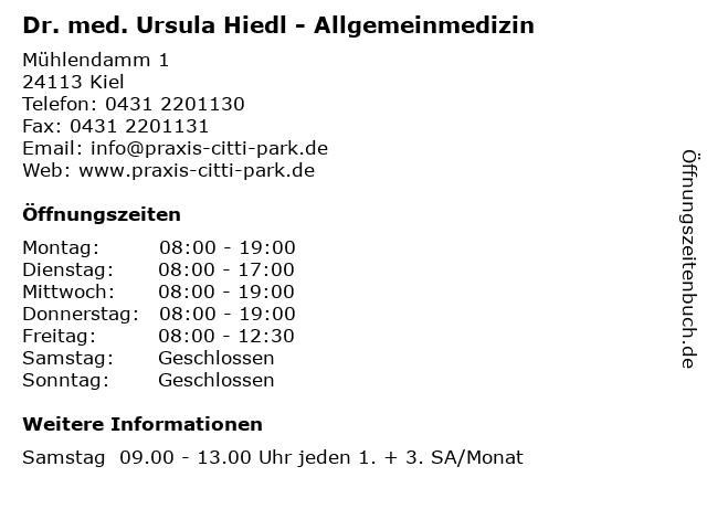 Dr. med. Ursula Hiedl - Allgemeinmedizin in Kiel: Adresse und Öffnungszeiten