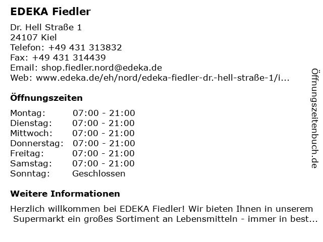 EDEKA Fiedler in Kiel: Adresse und Öffnungszeiten