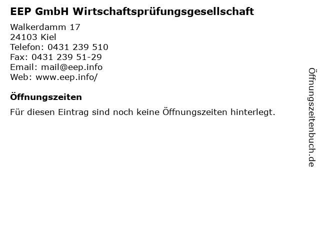 EEP GmbH Wirtschaftsprüfungsgesellschaft in Kiel: Adresse und Öffnungszeiten