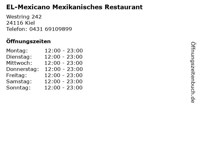 EL-Mexicano Mexikanisches Restaurant in Kiel: Adresse und Öffnungszeiten