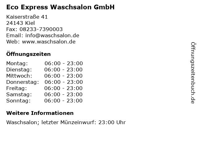 Eco Express Waschsalon GmbH in Kiel: Adresse und Öffnungszeiten