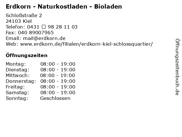 Erdkorn Bio-Supermarkt in Kiel: Adresse und Öffnungszeiten