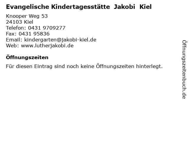 Evangelische Kindertagesstätte  Jakobi  Kiel in Kiel: Adresse und Öffnungszeiten