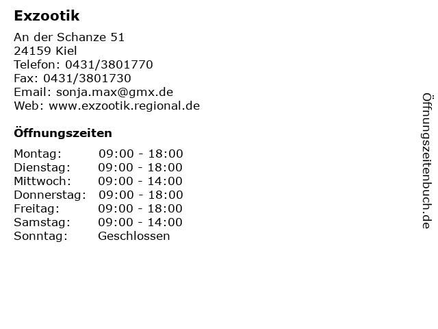 Exzootik in Kiel: Adresse und Öffnungszeiten