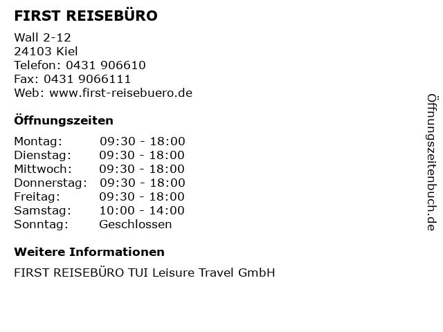 FIRST REISEBÜRO in Kiel: Adresse und Öffnungszeiten