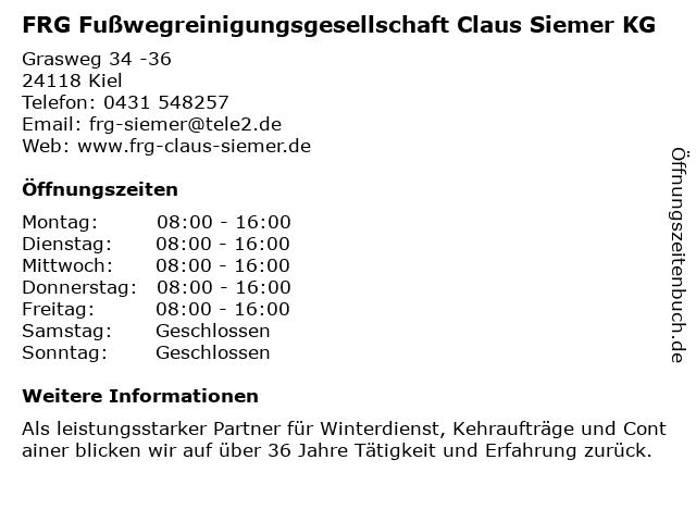 FRG Fußwegreinigungsgesellschaft Claus Siemer KG in Kiel: Adresse und Öffnungszeiten