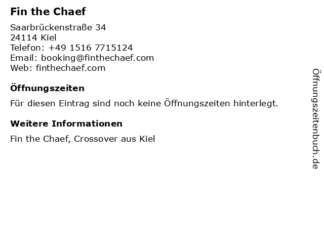 Fin the Chaef in Kiel: Adresse und Öffnungszeiten