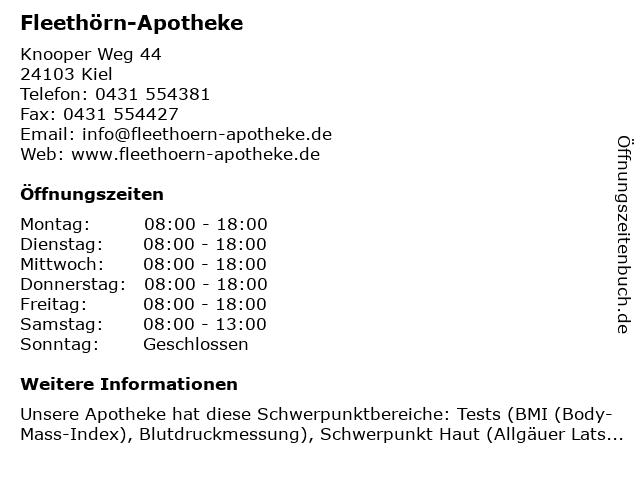 Fleethörn-Apotheke in Kiel: Adresse und Öffnungszeiten