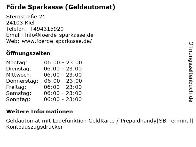 Förde Sparkasse - (Geldautomat Filiale) in Kiel: Adresse und Öffnungszeiten