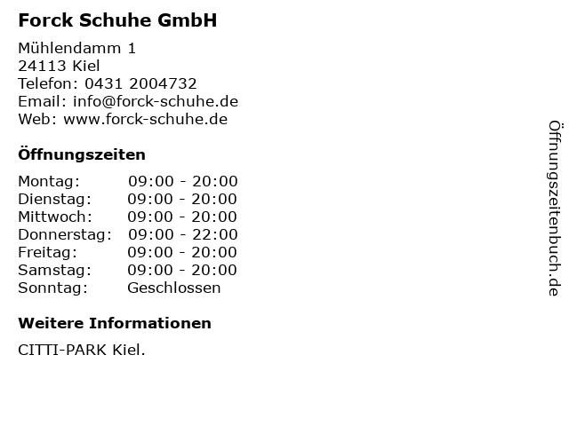 Forck Schuhe GmbH in Kiel: Adresse und Öffnungszeiten