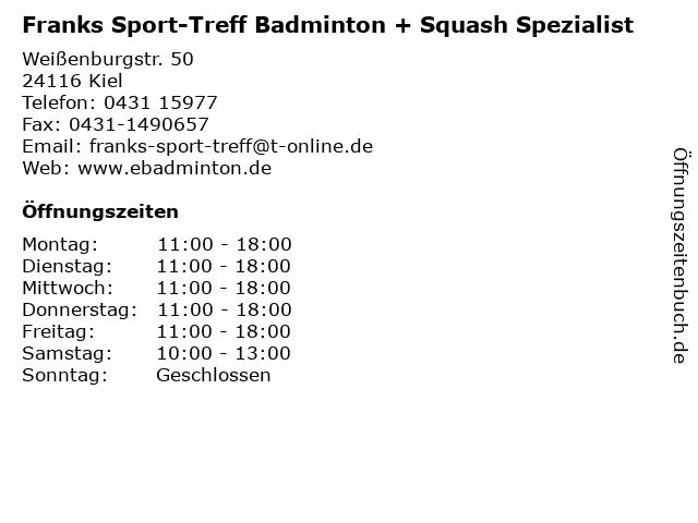Franks Sport-Treff Badminton + Squash Spezialist in Kiel: Adresse und Öffnungszeiten