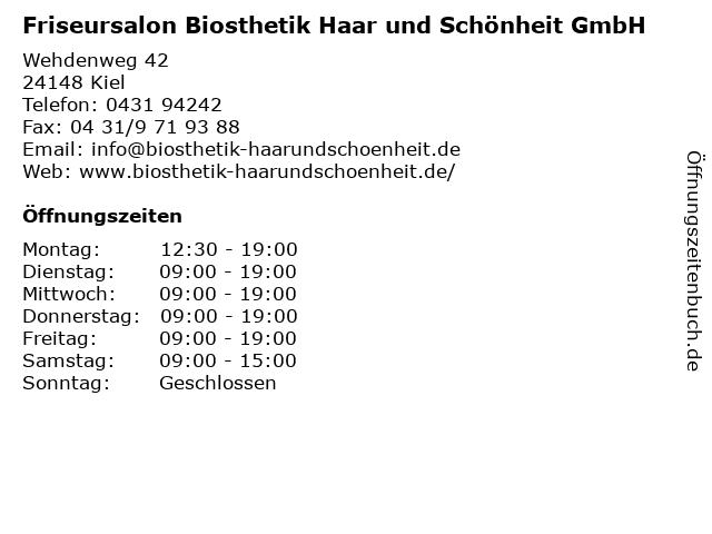Friseursalon Biosthetik Haar und Schönheit GmbH in Kiel: Adresse und Öffnungszeiten