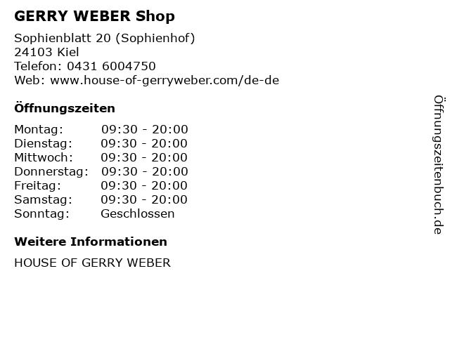 GERRY WEBER Shop in Kiel: Adresse und Öffnungszeiten