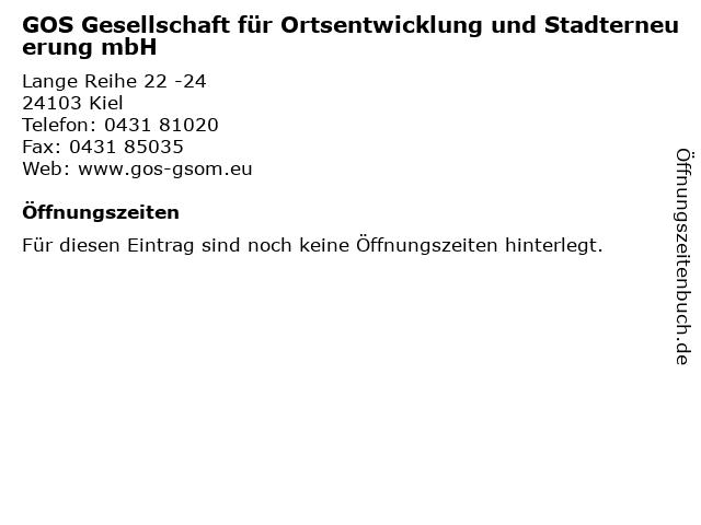 GOS Gesellschaft für Ortsentwicklung und Stadterneuerung mbH in Kiel: Adresse und Öffnungszeiten