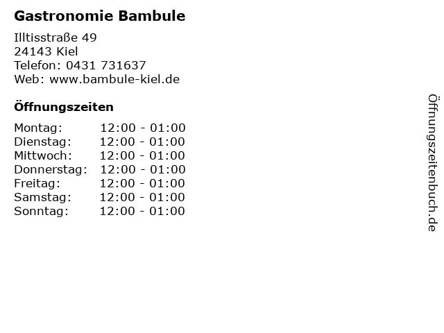 Gastronomie Bambule in Kiel: Adresse und Öffnungszeiten