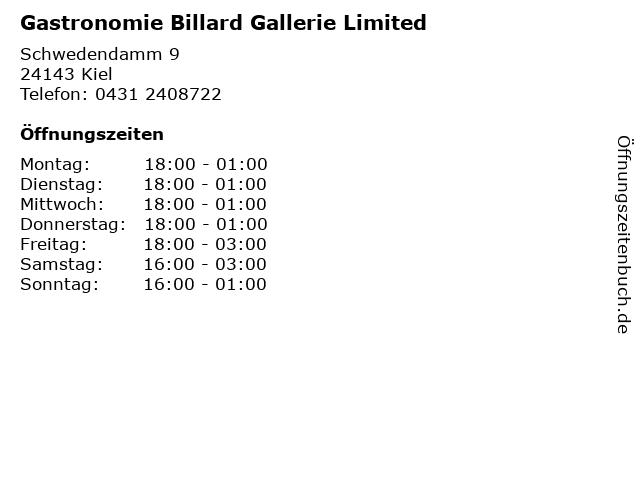 Gastronomie Billard Gallerie Limited in Kiel: Adresse und Öffnungszeiten