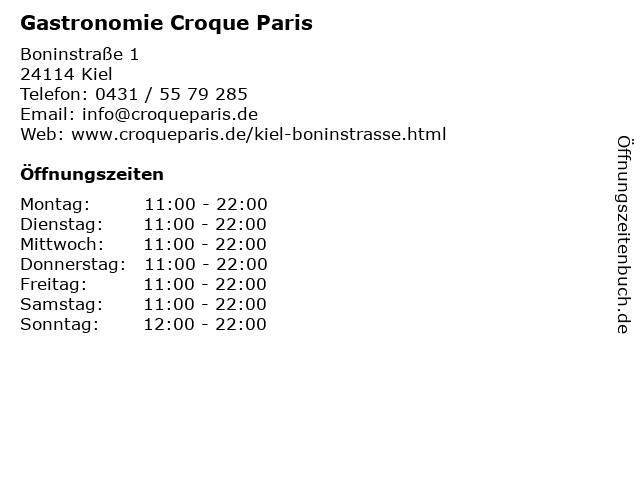 Gastronomie Croque Paris in Kiel: Adresse und Öffnungszeiten