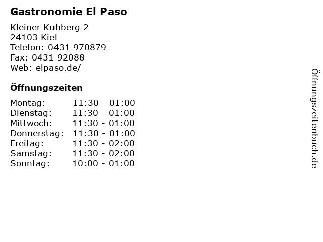 Gastronomie El Paso in Kiel: Adresse und Öffnungszeiten