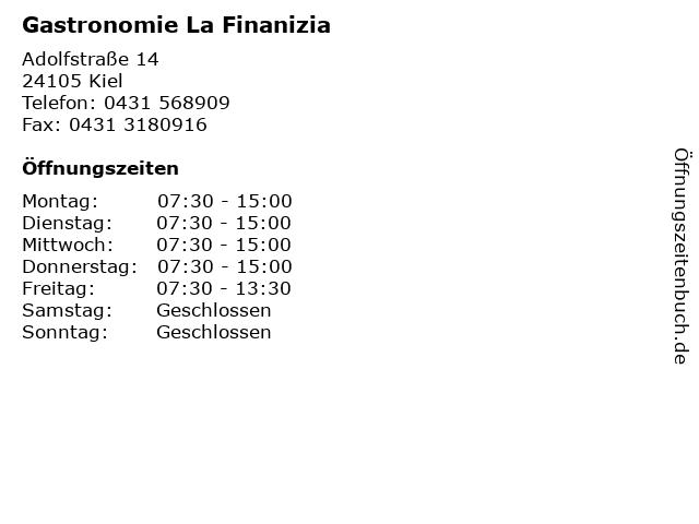 Gastronomie La Finanizia in Kiel: Adresse und Öffnungszeiten