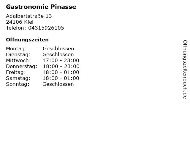 Gastronomie Pinasse in Kiel: Adresse und Öffnungszeiten