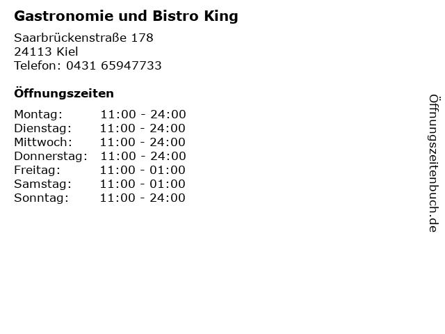 Gastronomie und Bistro King in Kiel: Adresse und Öffnungszeiten