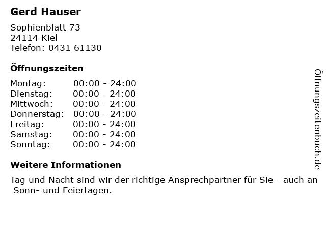 Gerd Hauser in Kiel: Adresse und Öffnungszeiten