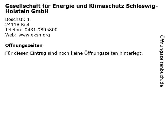Gesellschaft für Energie und Klimaschutz Schleswig-Holstein GmbH in Kiel: Adresse und Öffnungszeiten