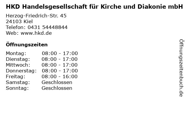 HKD Handelsgesellschaft für Kirche und Diakonie mbH in Kiel: Adresse und Öffnungszeiten