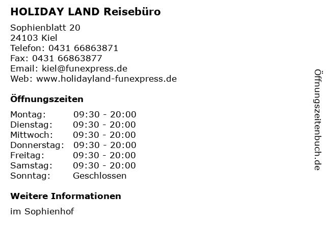 HOLIDAY LAND Reisebüro in Kiel: Adresse und Öffnungszeiten