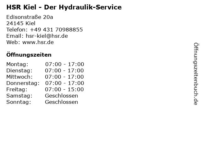 HSR Der Hydraulik-Service in Kiel: Adresse und Öffnungszeiten