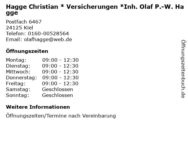 Hagge Christian * Versicherungen *Inh. Olaf P.-W. Hagge in Kiel: Adresse und Öffnungszeiten