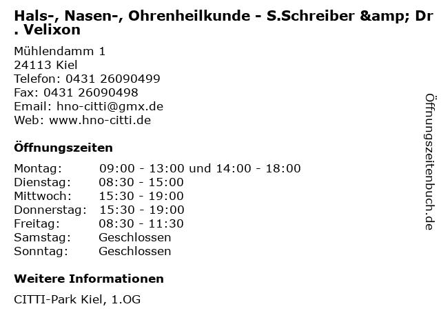 Hals-, Nasen-, Ohrenheilkunde - S.Schreiber & Dr. Velixon in Kiel: Adresse und Öffnungszeiten