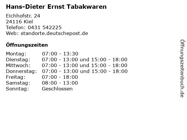 Hans-Dieter Ernst Tabakwaren in Kiel: Adresse und Öffnungszeiten
