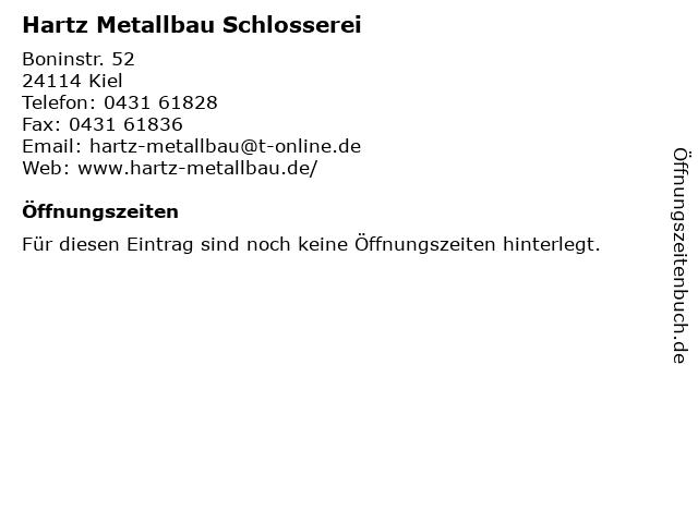 Hartz Metallbau Schlosserei in Kiel: Adresse und Öffnungszeiten