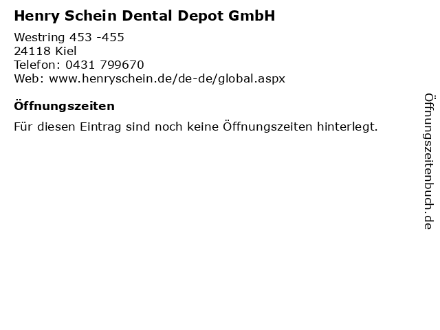 ᐅ öffnungszeiten Henry Schein Dental Depot Gmbh Westring 453