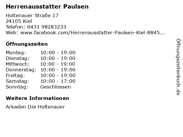 Herrenausstatter Paulsen in Kiel: Adresse und Öffnungszeiten