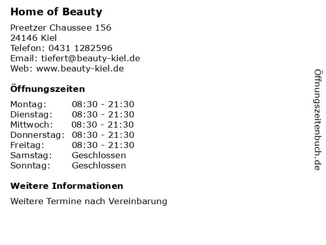 Home of Beauty in Kiel: Adresse und Öffnungszeiten