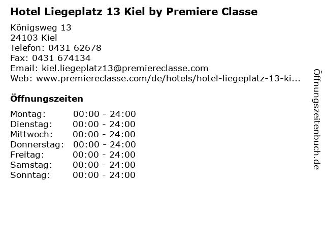 Hotel Liegeplatz 13 Kiel by Premiere Classe in Kiel: Adresse und Öffnungszeiten
