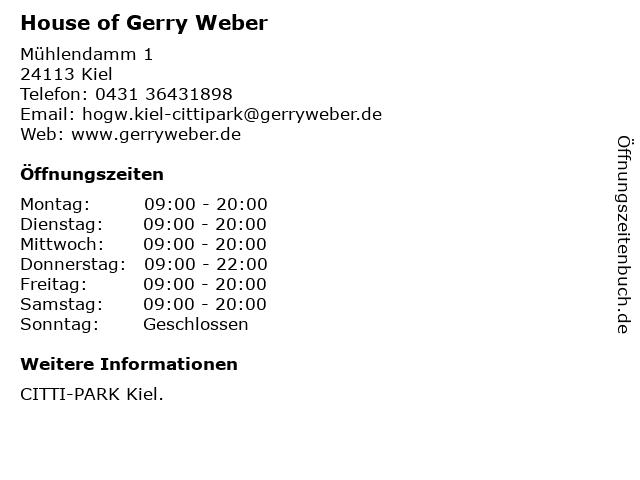 House of Gerry Weber in Kiel: Adresse und Öffnungszeiten