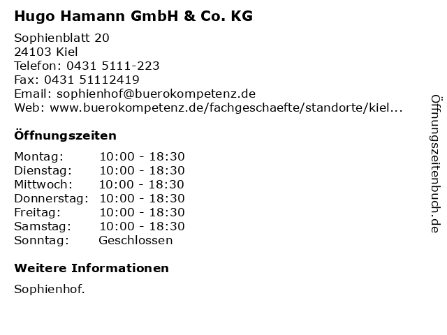 Hugo Hamann GmbH & Co. KG in Kiel: Adresse und Öffnungszeiten