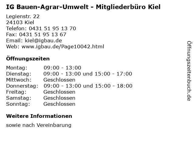 IG Bauen-Agrar-Umwelt - Mitgliederbüro Kiel in Kiel: Adresse und Öffnungszeiten