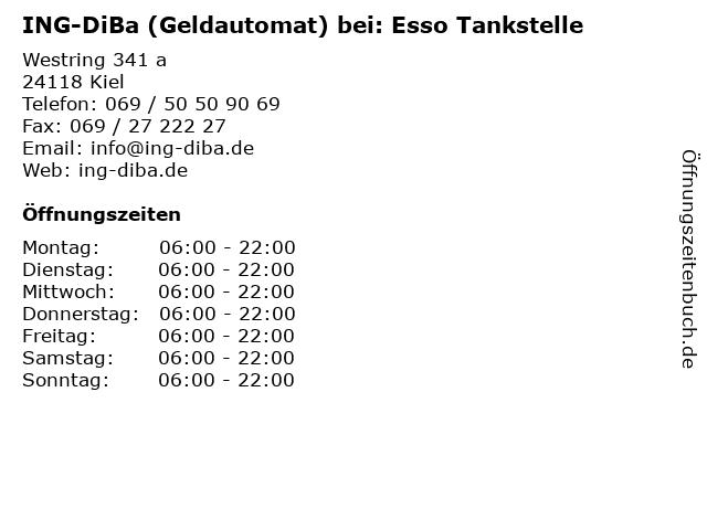 ING-DiBa (Geldautomat) bei: Esso Tankstelle in Kiel: Adresse und Öffnungszeiten
