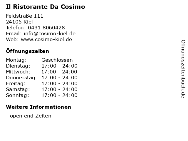 Il Ristorante Da Cosimo in Kiel: Adresse und Öffnungszeiten