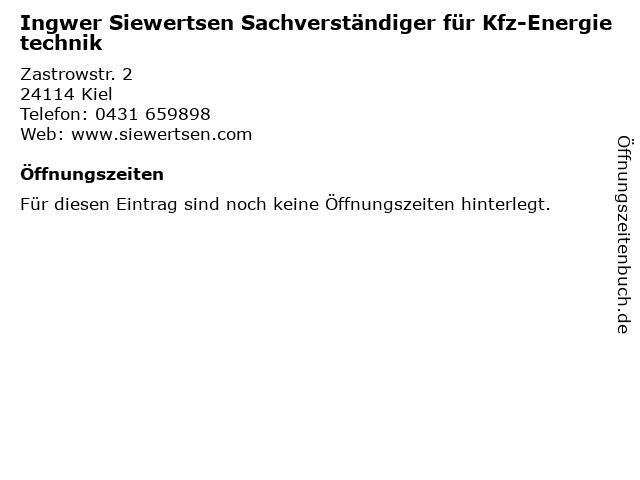 Ingwer Siewertsen Sachverständiger für Kfz-Energietechnik in Kiel: Adresse und Öffnungszeiten
